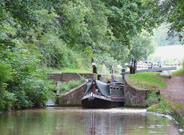Narrow-boat leaving Tyrley Lock 4, Shropshire Union Canal, Staffordshire