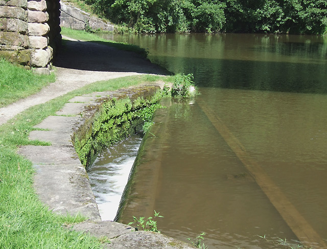 Canal Overflow above Bosley Lock 12, Macclesfield Canal, Cheshire
