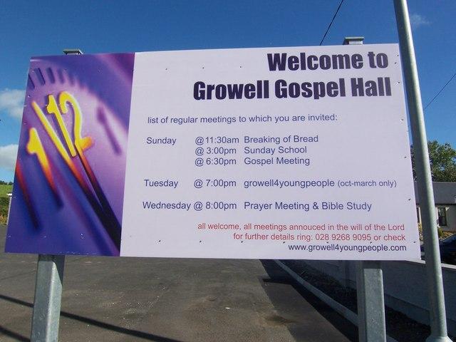 Notice at Growell Gospel Hall