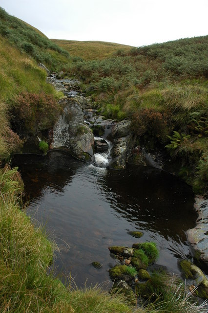 Pool in the stream in the Pant Glas valley