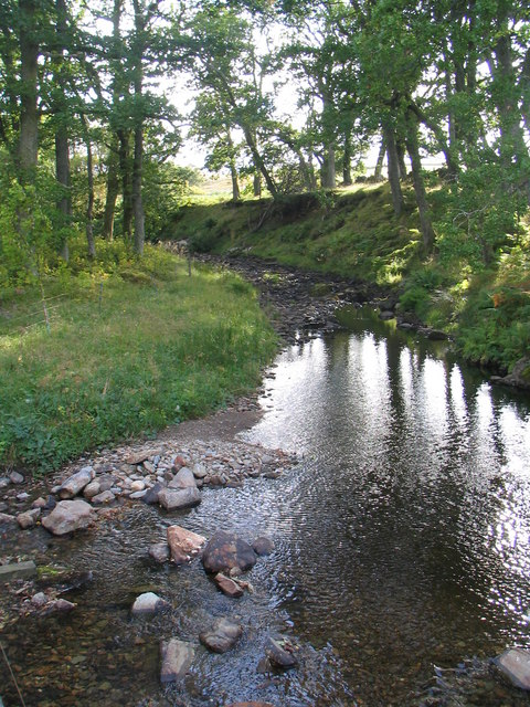 Flood channel of River Braan where it meets the Glenfender Burn