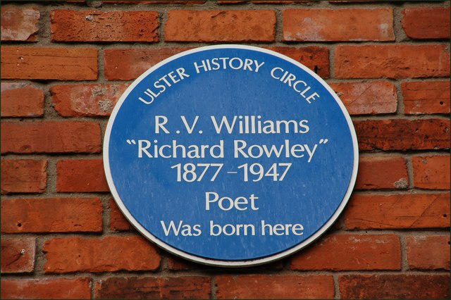 RV Williams plaque, Dublin Road, Belfast