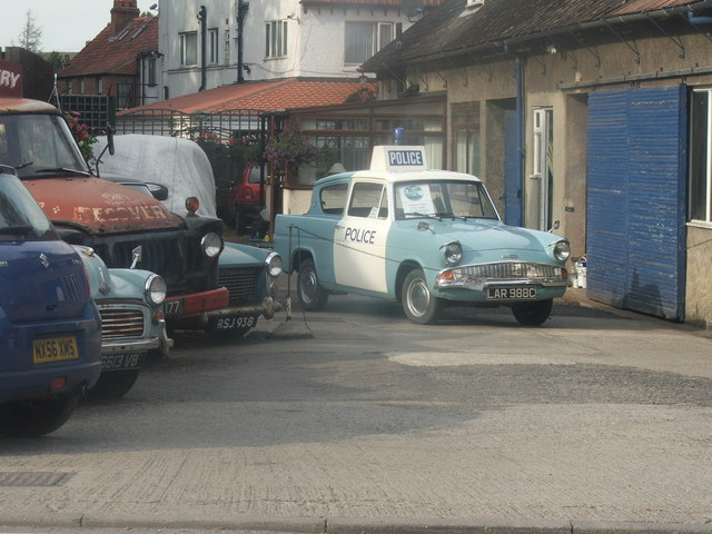 Classic Vehicles parked at Aidensfield Garage, Goathland, North Yorkshire Moors.