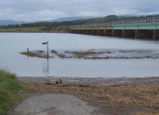 A high tide at Eskmeals viaduct