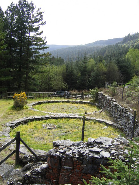 Buddle circles, Ystrad Einion mine