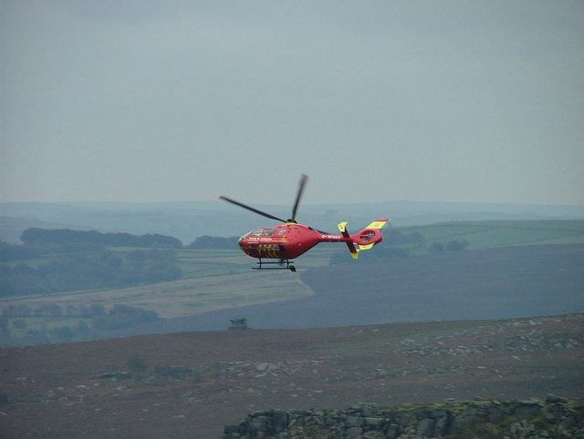 Air ambulance at Burbage North