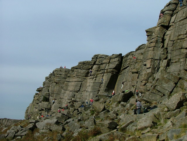 Climbers at Stanage Edge