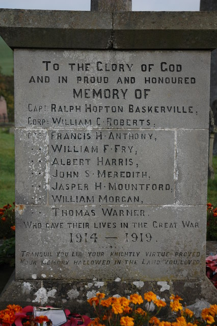 Names on Clyro War Memorial