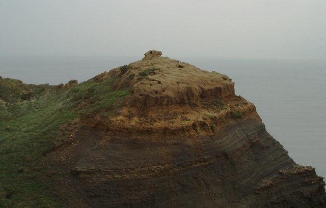Weathered rock formation on the cliffs