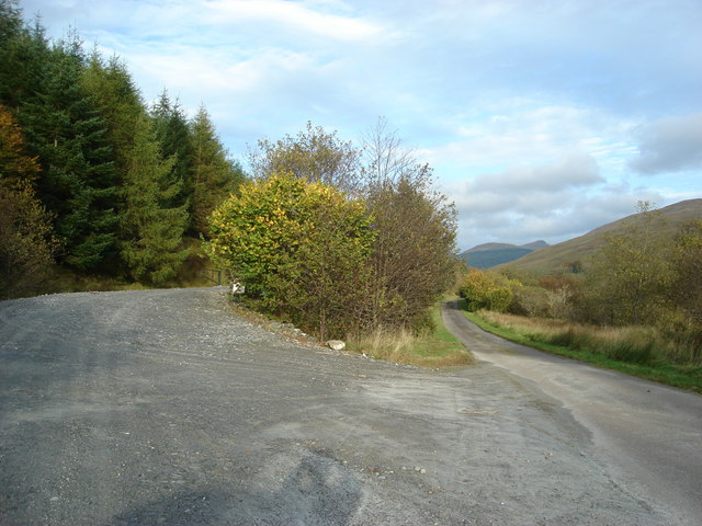 Forestry track leaves the road to Succothmore
