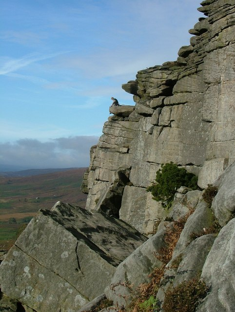 Climber at Stanage Edge