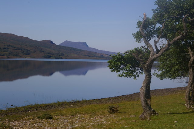 On the shore of Loch Achall with Beinn Ghobhlach in distance