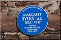 Photo of Margaret Byers blue plaque