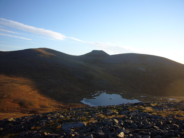 Loch nan Stuirteag and Cairn Toul from N ridge of Monadh Mor