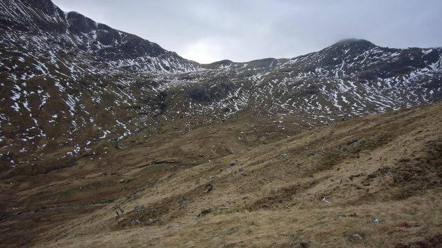 Bealach between Bidein a' Choire Sheasgaich and Lurg Mhòr