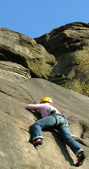 Climbing Three Pebble Slab at Froggatt Edge