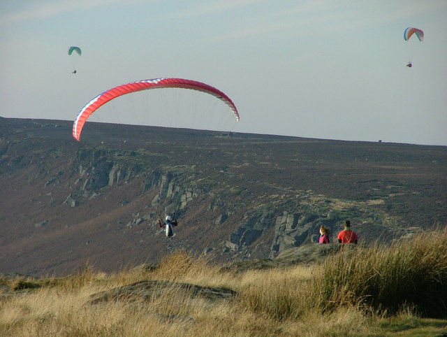 Paragliders at Stanage Edge