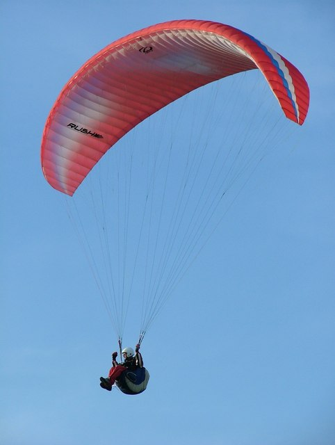 Paraglider over Stanage Edge