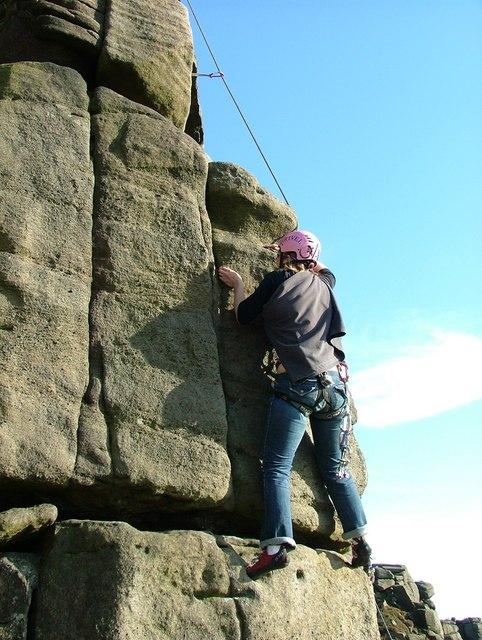 Climbing Paradise Arete - Stanage Edge