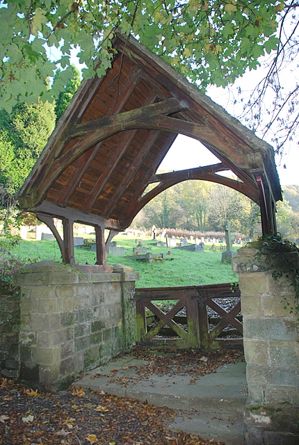 The lych gate to Stoney Middleton cemetery
