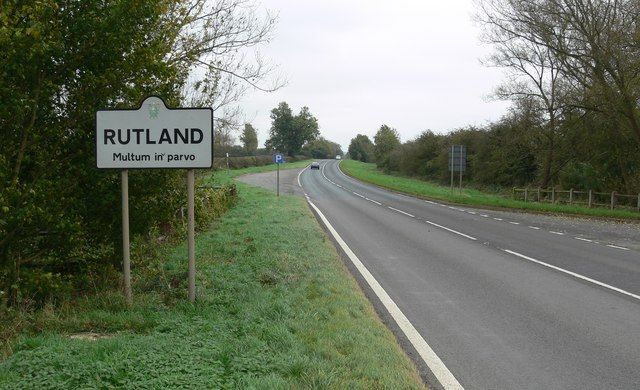 The A47 Uppingham Road enters Rutland