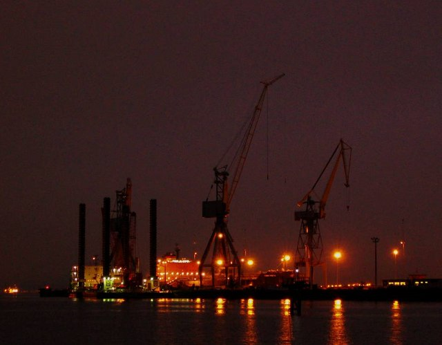 The Harland and Wolff repair dock by night