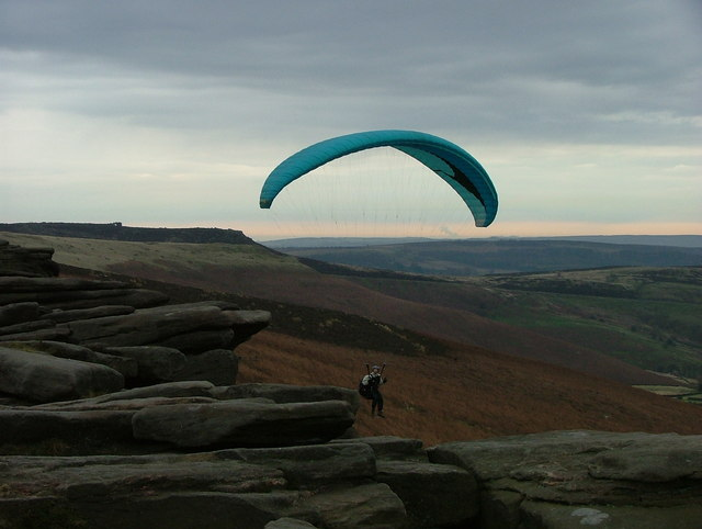 Paraglider at Stanage Edge