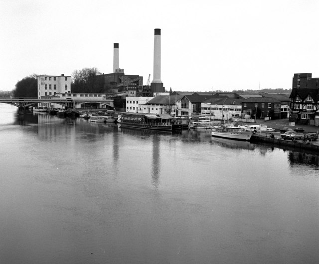 Turk's boatyard and Kingston Power Station, River Thames