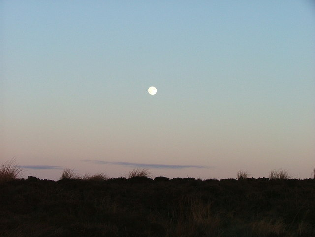 The moon, at sunset, over Burbage Moor