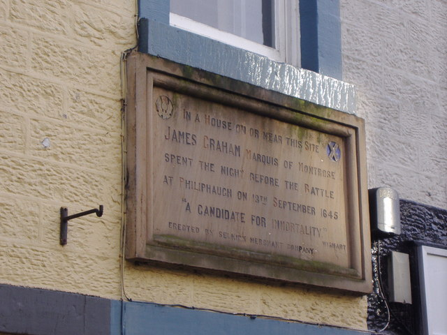 Plaque marking Montrose's stay in Selkirk
