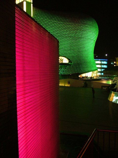 The Bull Ring and waterfall at night