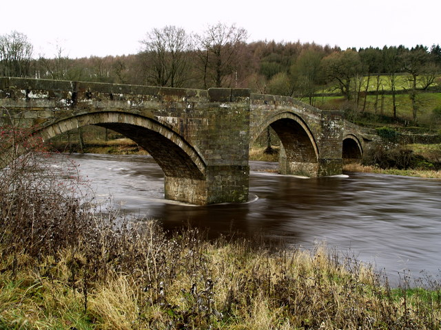 Fast flow River Wharfe under Barden Bridge