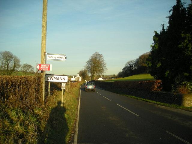 A485 approaching Cwmann