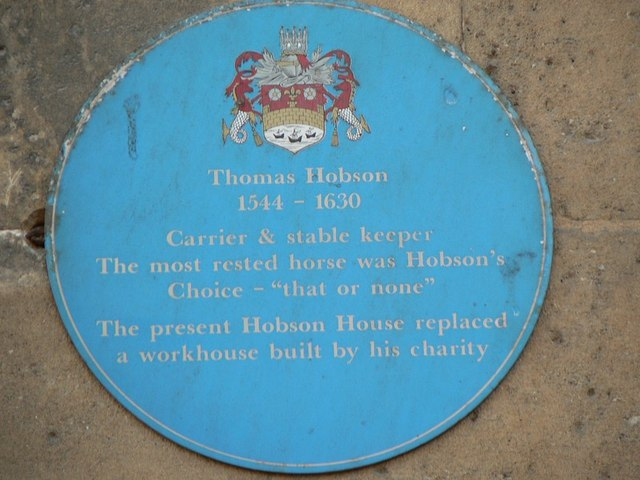 Blue Plaque, Hobson House, St Andrew's Street