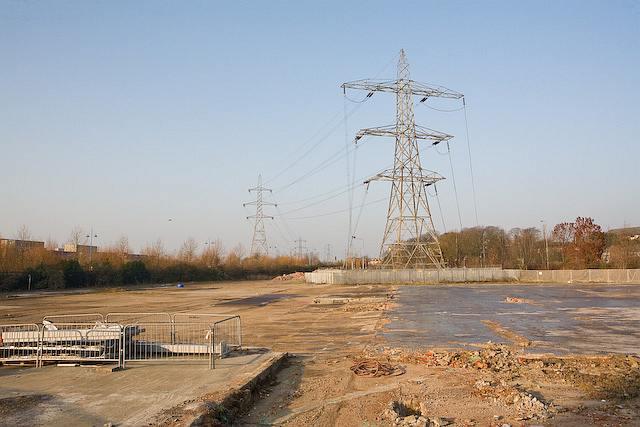 Demolished depot and Electricity Pylons, Southern Road, Southampton