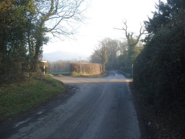 Lane junction near Colwall