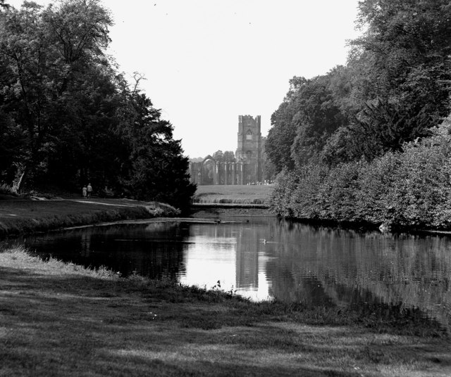 Fountains Abbey, seen over the water