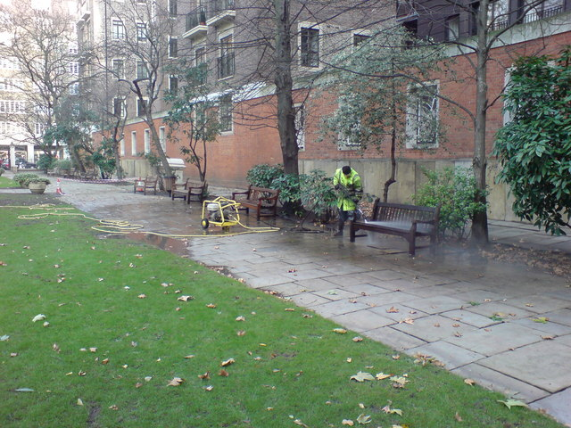 Cleaning a Bench, St John's Gardens