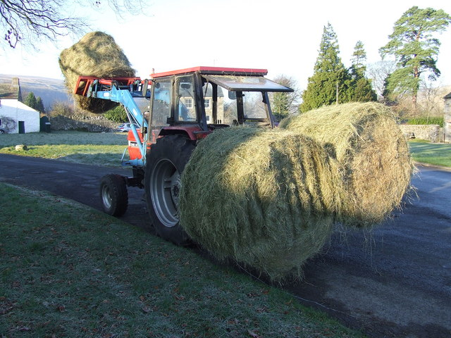 Winter feed...Hay Bales 'parked' on the village green