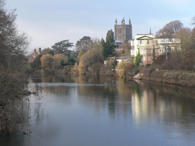 Hereford: the River Wye and the cathedral