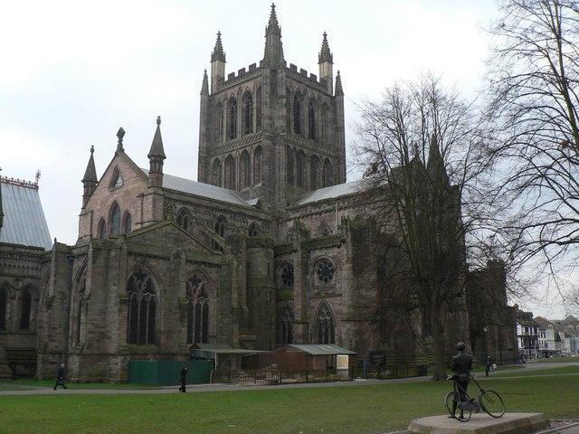 Hereford: Sir Edward Elgar admires the cathedral
