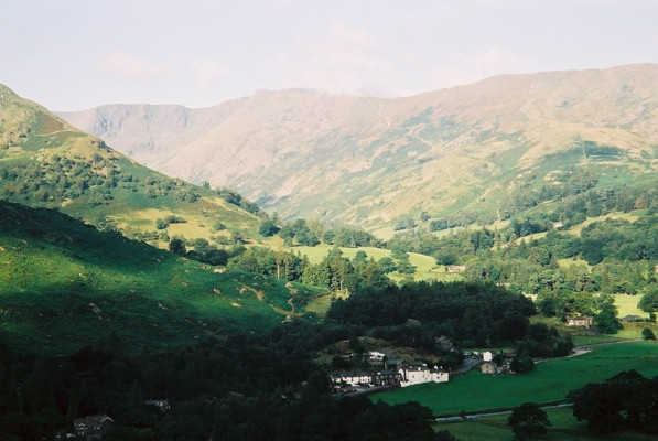 Patterdale in the shade, the Helvellyn range in the sunshine
