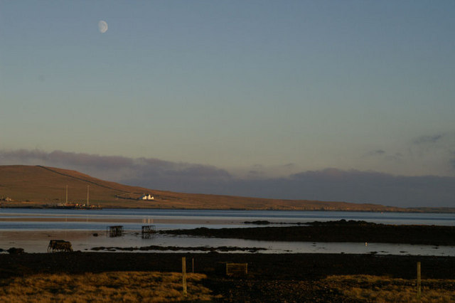 Moonrise over Baltasound voe