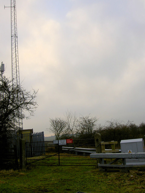 Telecommunications mast and access gate to East Coast Main Rail Line