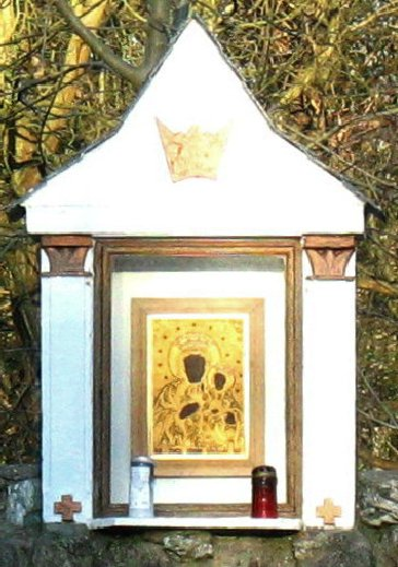Close up of the shrine of the Matka Boska Czestochowska at Penrhos