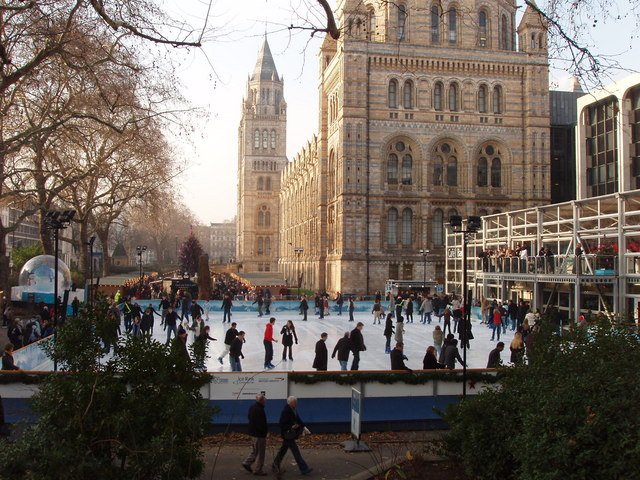 Busy ice rink at the Natural History Museum