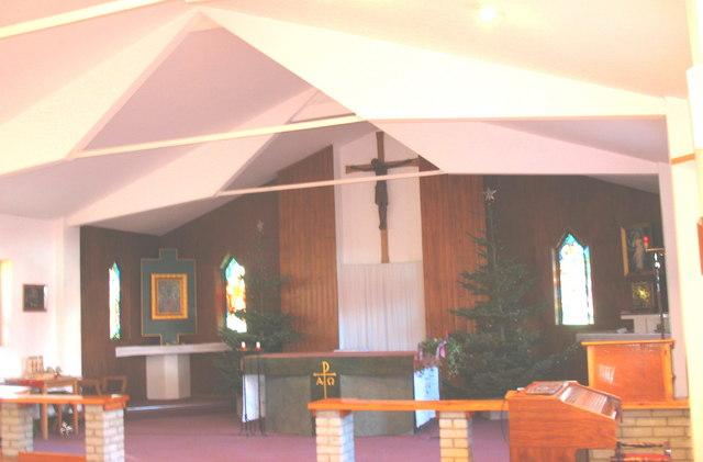 The main altar at the Kosciol pw Matki Bozej i sw. Cynfila, Penrhos