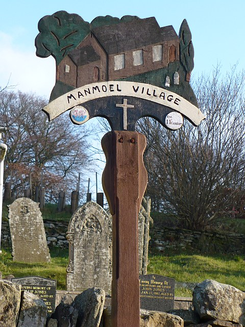 Manmoel village sign