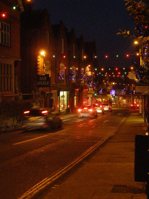 Christmas lights on High Street, Lyndhurst