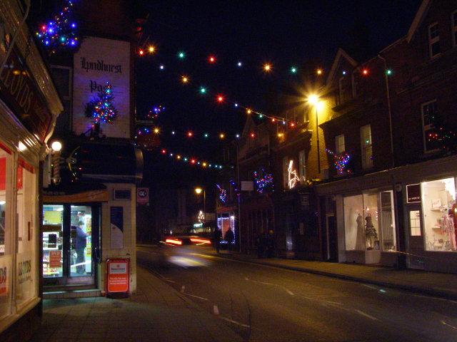 Christmas lights on High Street, Lyndhurst